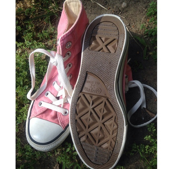 72 converse shoes baby pink high top converse