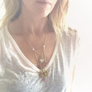Gold tone boho necklace