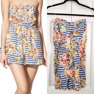 Xhilaration Dresses & Skirts - 🚫Blue Stripe Floral Romper with Gold Buttons