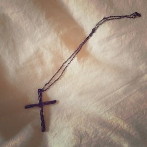Pamela Love Bronze Rope Cross Pendant Necklace