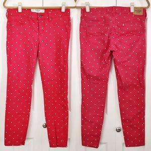 Abercrombie & Fitch Pants - Red Polka Dot Ankle Jeans