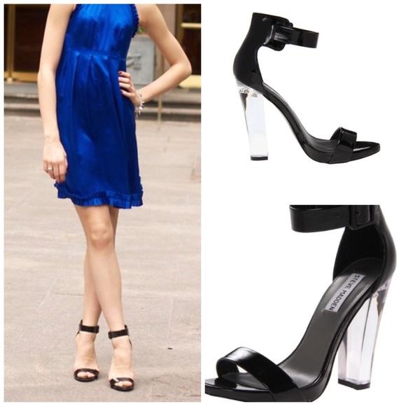 STEVE MADDEN lucite heel sandal. M 558ee46dec54643bd200727e