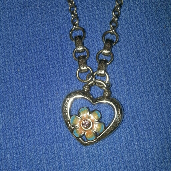 Brighton Jewelry Orchard Necklace Silver Heart W Flower