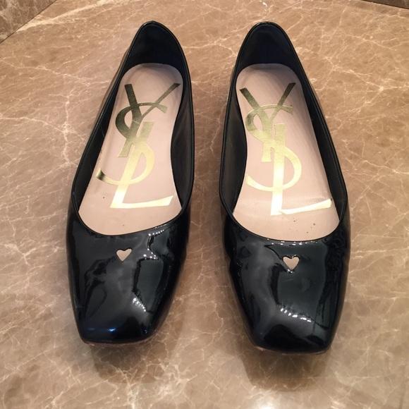 26075d50805 Yves Saint Laurent Shoes | Ysl Black Patent Love Ballerina Flats ...