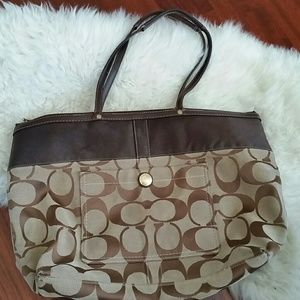 Coach Signature Khaki Tote Large