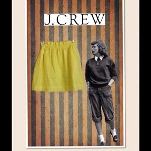 Yellow J. Crew Mini Linen Skirt