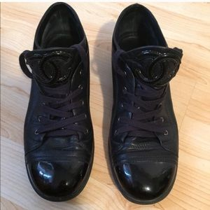 Chanel sneakers 6.5 black leather