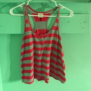 red and grey striped tank top