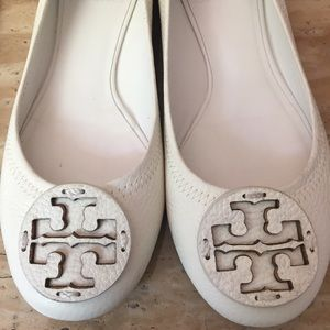 Tory Burch White Reva Flats
