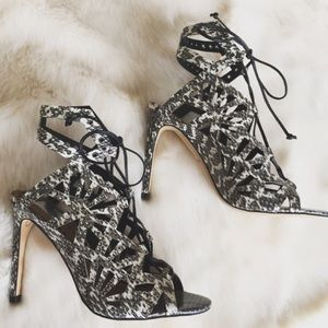 Dolce Vita Shoes - Dolce Vita Black/White Print Lace-up Heels
