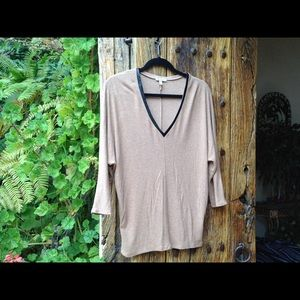 Soft Knit, Tan, V Neck, Sweater