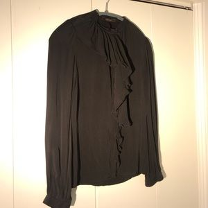 Black silk ruffled blouse