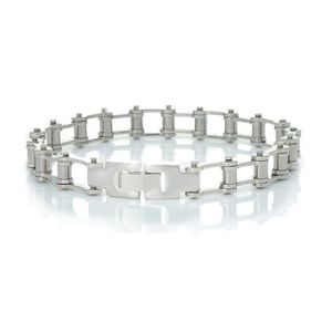 Stainless Steel Bicycle Chain Bracelet Silver Tone