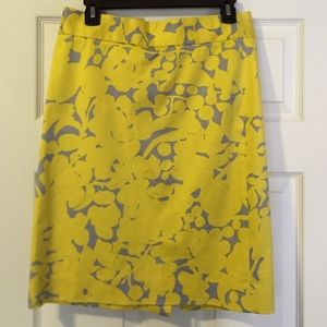 J Crew yellow and gray floral pencil skirt