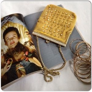 Vintage Handbags - YELLOW BEADED EVENING BAG WITH GHW & STUDS