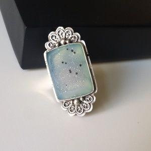 Jewelry - Handmade Sterling Silver Druzy Adjustable Ring
