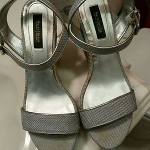 White House Black Market silver wedge sandals