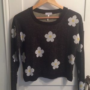 LA Hearts Daisy Print Cropped Sweater 