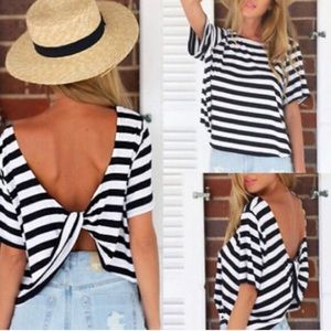 Tops - Striped twist top blouse black white shirt tee