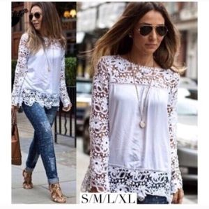Tops - Boho lace crochet blouse top long sleeve white