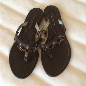 Sigerson Morrison Shoes - Sigerson Morrison Gold Chain Brown Sandals