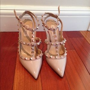Valentino Shoes - Authentic nude Valentino rockstud heels