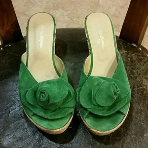 Sotto Sopra Shoes - Suede green Italian wedge shoes