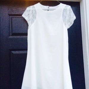 Size 6 ASOS white dress with lace cap sleeves