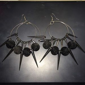 $5 off! Silver and black spiked ear rings