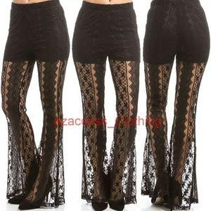 boutique Pants - Black Lace Sheer Pants PALAZZO high waist SEXY
