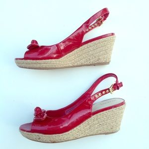 MERONA patent red espadrille wedges shoes 6.5