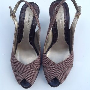 LIZ CLAIBORNE slingback plaid peep toe sandals 6.5
