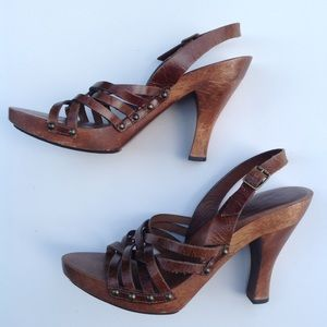 MIA brown leather wood Brazil sandals 7