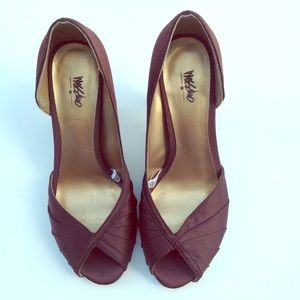 NEW MOSSIMO brown satin d'Orsay heels shoes 6.5