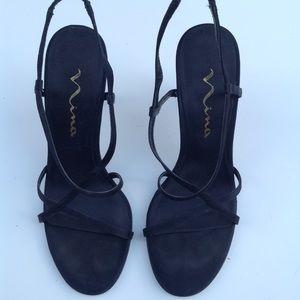 NINA leather sole black satin strappy sandals 7.5