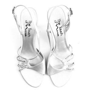 Touch of NINA silver satin rhinestone strap sandal