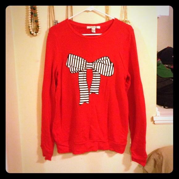80% off Forever 21 Sweaters - Forever 21 red bow sweater from ...
