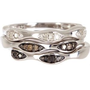 NWT Savvy Cie Pave Diamond Stackable Ring Set