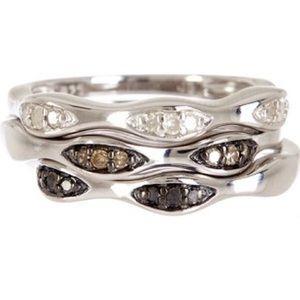 NWT Savvy Cie Pave Diamond Stackable Ring Set