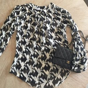 DVF Silk Houndstooth Top