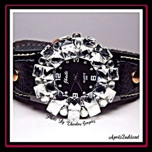 Boutique Accessories - Black & CZ Diamond Crystal Watch
