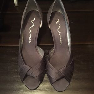 "Nina Grey Satin Pumps with 3"" Heel"