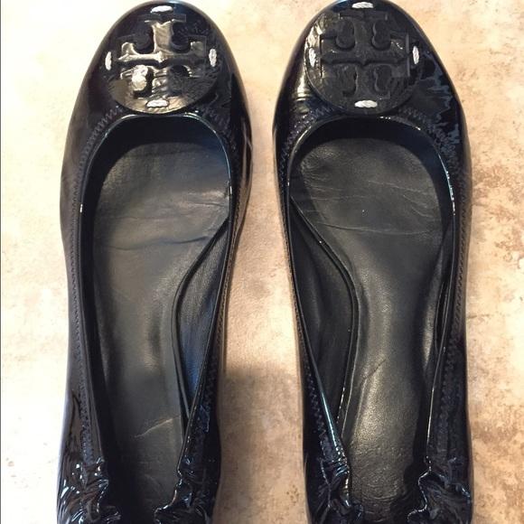Black Patent Tory Burch Reva Flats