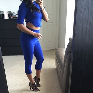 Dresses & Skirts - Royal blue 2 piece cropped set