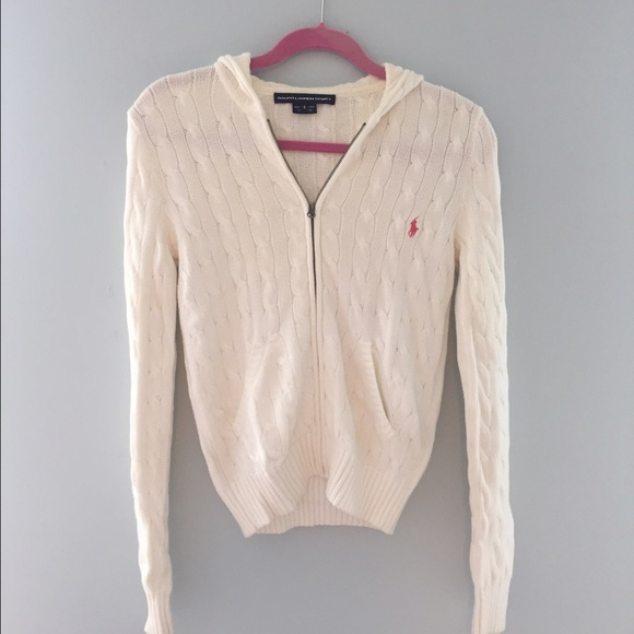 78% off Ralph Lauren Sweaters - Ralph Lauren white cable knit zip ...
