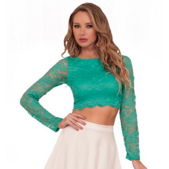 a18b667ec91ff Sheer Green Lace Long Sleeve Crop Top