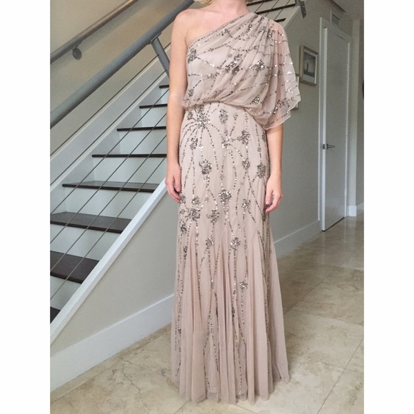 Adrianna Papell Dresses Beaded One Shoulder Evening Gown Poshmark