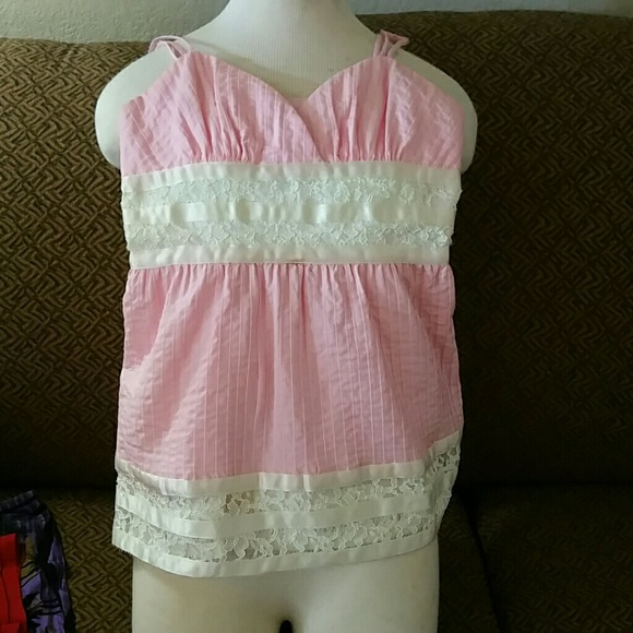Betsey Johnson Tops - Betsey Johnson Pink with pleats and cream lace
