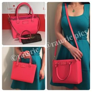 New Kate Spade hot pink leather Quinn Satchel