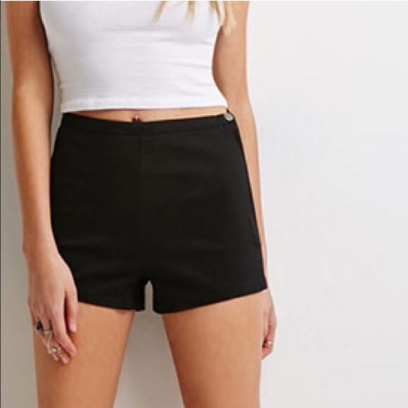 28% off Forever 21 Pants - F21 | Black High Waisted Side Zip Chino ...